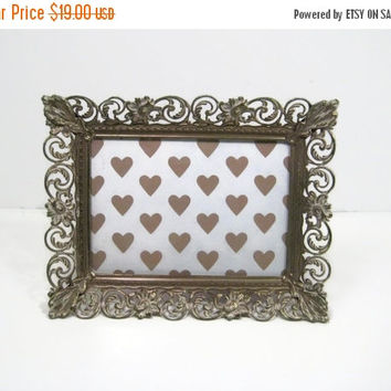 ON SALE Vintage Brass Picture Frame 1950s Ornate Gold Filigree 5 X 7  Photo Frame Wedding Vanity Frame