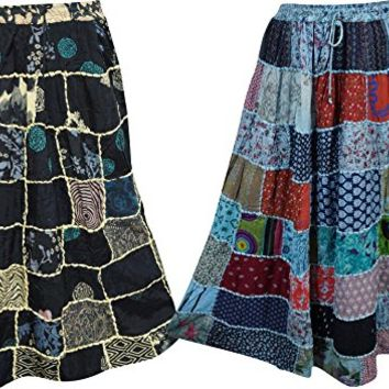 Womens Patchwork Skirt Vintage Ethnic Printed Indian Inspired Flare Style Long Skirts Lot Of 2