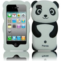4 Items Combo for Apple Ipod Touch 4 Itouch 4 - Black 3D Panda Design Soft Silicone Skin Gel Cover