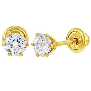 14k Yellow Gold Screw Back Earrings Solitaire Round Cubic Zirconia for Baby Girl 4mm