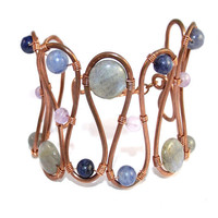 Copper Gemstone Bracelet Pastel Colours by SunflowerStudiosUK