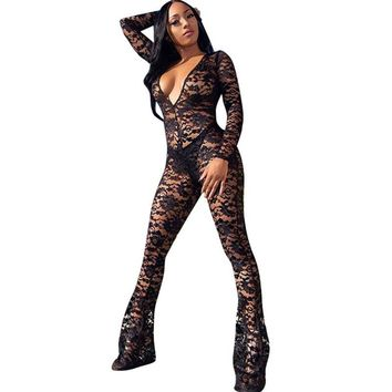 f129601aa20b Women Floral Black Lace Bodycon Jumpsuit Romper Sexy Deep V-neck