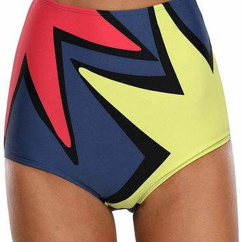 Polygonal Star Print High Waist Swim Bottom