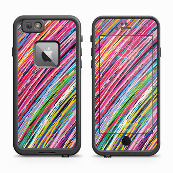 Pink and Green Colored Pencil Stripes Skin for the Apple iPhone LifeProof Fre Case