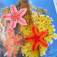 Crochet Applique Starfish crocheted sewing accessory Sewing craft Beach theme embellishment baby kids nursery Nautical ocean sea Set of 2