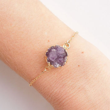 Raw Amethyst Drusy Bracelet in Gold- Druzy Jewelry - OOAK