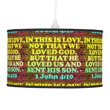 Bible verse from 1 John 4:10. Hanging Lamp