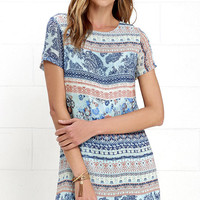 Shift and Shout Light Blue Multi Print Shift Dress