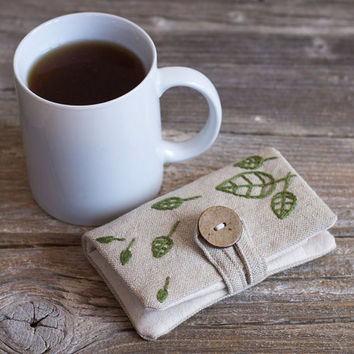 Linen and Cotton Tea Wallet with Hand Embroidered Green Leaves, Tea Holder, Gift for Tea Lover