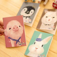 VONC1Y Novelty Cartoon Animals Dog Rabbit Penguin Pig Mini Notebook Diary Pocket Notepad Promotional Gift Stationery Fod