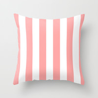 Coral Pink Stripe Vertical Throw Pillow by BeautifulHomes   Society6