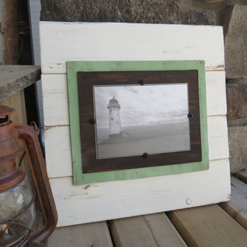Distressed Wood Plank Frame for 5X7 Photo - Home Decor, Shabby Cottage, Beach, Nautical, Coastal Decor, French Country