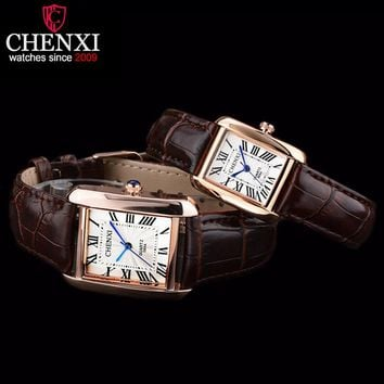 CHENXI Lovers' Watches Fashion Square Watch Ladies Waterproof Couple Watches Men and Women Leather Strap Quartz WristWatches