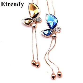 Fine Trendy Statement Crystal Butterfly Tassel Long Necklace Women 2017 New Gold-color Jewelry Bijoux Necklaces & Pendants