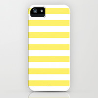 Lemon Yellow Stripes iPhone & iPod Case by Laura Ruth