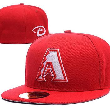 PEAPON Arizona Diamondbacks New Era 59FIFTY MLB Hat Red-White