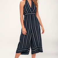 Breeze the Day Navy Blue Print Halter Jumpsuit