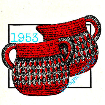 1953 Crochet Pattern-Sugar 'n Creamer Pan Holders-Pot Holders-Potholders-Crochet Pattern-Vintage Lily Book 59-Vintage Crafts PDF-USA
