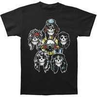 Guns N Roses Men's  Heads Vintage Vintage T-shirt Black
