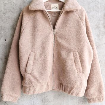 solid faux fur teddy sherpa zip up jacket - taupe