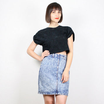 Vintage 80s Mini Skirt Acid Wash Denim Skirt Blue Jean Skirt BONGO Denim Skirt High Waisted Skirt Punk New Wave 1980s Bodycon Skirt S Small