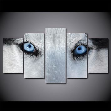 Wolf Blue Eyes 5 Pcs panel poster print framed UNframed canvas art home decor