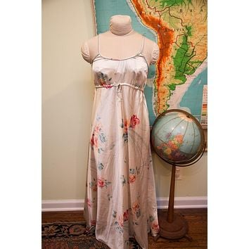 Vintage 70s Christian Dior Ivory Floral Nightgown // Beach Dress // Size Small - M