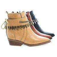 Pamee05 By Bumper, Cowgirl Lace Up Chain Accent Strap Ankle Women's Western Boots