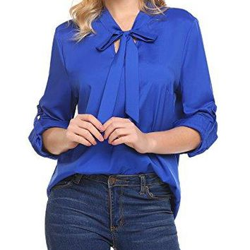 Donkap Women Bow Tie Neck Cuffed Sleeve Casual Office Work Blouse Shirts TopsSXXL