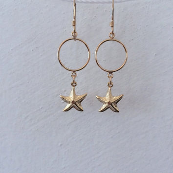 Starfish Earrings by SBC 14K Gold Filled Ear Wires 14K Gold Filled Starfish Charms Nautical Earrings