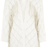 **Knitted Fringe Cardigan By Selected Femme - Cream
