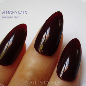 Stiletto Nails | Pointy Press On Nails | Glossy Burgundy