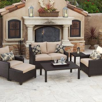 RST Brands Delano Deep Seating Love Seat, Club Chairs, Coffee and End Table Set Patio Furniture, 6-Piece