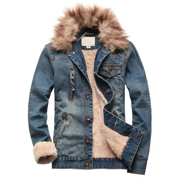 Winter Arrival Denim Jacket With Fur For Men Slim Super Warm With Lining Winter Jacket
