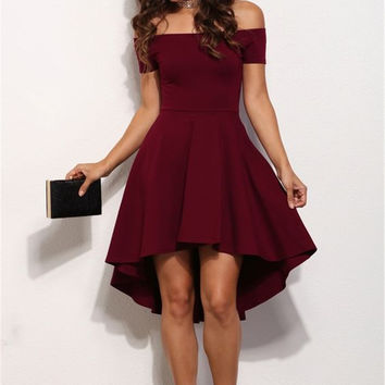 Spring Summer  Elegant Cocktail Party Dresses Slash Neck Off Shoulder Skater Dress Formal High Low Dresses Vestidos