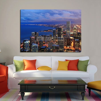 Large Wall Art CHICAGO Canvas Print - Chicago at Sunset with Ocean Landscape