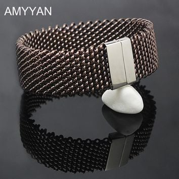 AMYYAN 22mm wide Woven Mesh Bracelets Stainless Steel Chains Silver Color Metal Bracelet Bangle for Women Jewelry Wristband