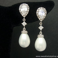 Wedding Bridesmaid Earrings Bridal Jewelry Cubic Zirconia Ear Posts & White Shell Based Pearl Drops with Diamond Cz Connectors
