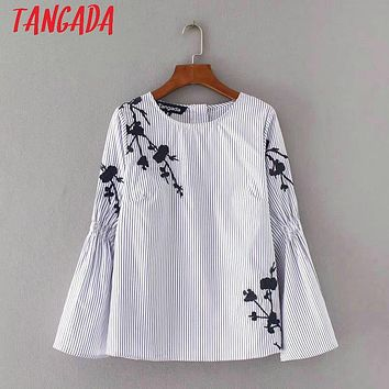 Tangada Spring Women Blouses Vintage Flower Embroidery Blue Striped Shirts Bell Sleeve Boho Style Retro Ladies Top YD08
