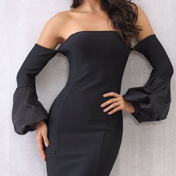 Dare To Love Black Long Flare Sleeve Off The Shoulder Bodycon Mini Dress