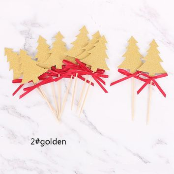 cake toppers golden/slivery christmas trees paper cards banner for fruit Cupcake Wrapper Baking Cup tea party decoration  Wh