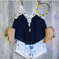 Aster Lace Top in Black