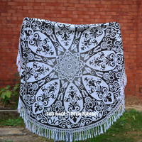 Black Royal Ombre Medallion Circle Roundie Beach Throw Towel on RoyalFurnish.com