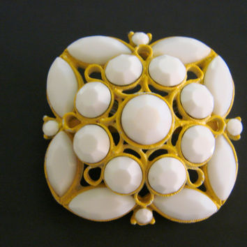 1960s 1970s Vintage Faceted Milk Glass Rhinestone Brooch Retro Jewelry Jewellery