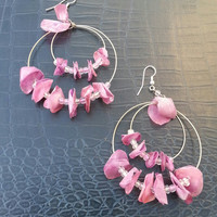 Large Pink Purple Circular Fish Scale, Metal, And Bead Earrings
