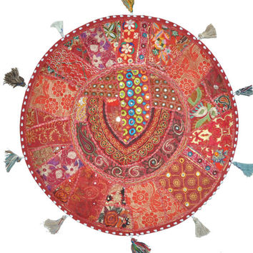 "17"" Patchwork Round Floor Pillow Cushion in Red round embroidered Bohemian Patchwork floor cushion pouf Vintage Indian Foot Stool ottoman"