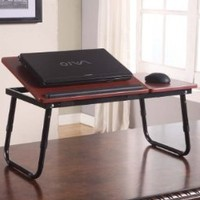 Kings Brand Foldable Adjustable Laptop Stand For Table, Sofa & Bed (Cherry)