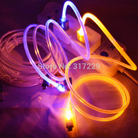 New 6 Colors Beautiful 1M LED Light Durable Micro USB Cable Charger For Samsung Galaxy S3 S4 S5 HTC Android phone