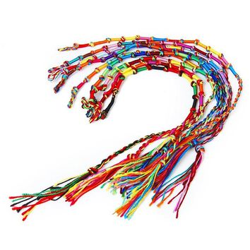 9pcs Hippie Style Colorful Knurled Braided Friendship Bracelets Thread Wrist Ankle Bracelets