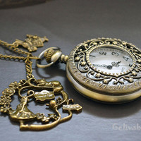 Alice in wonderland pocket watch necklace,with antique brass rabbit pendant NWAW01